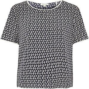 Navy paisley print boxy t-shirt