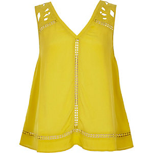 Lime yellow lace tank top