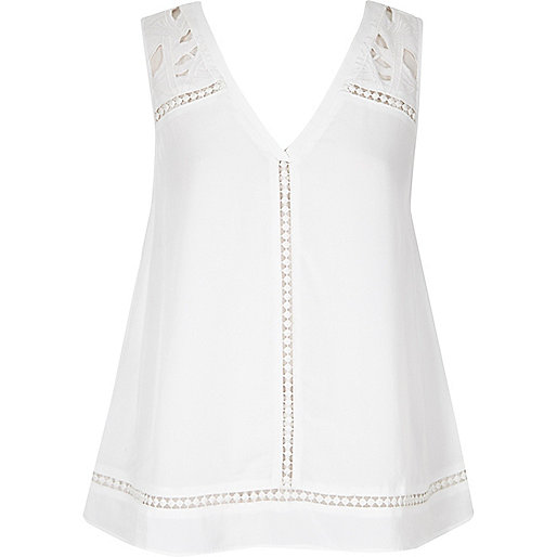 White embroidered tank top
