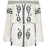 Cream embroidered bardot top