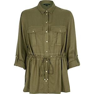 Khaki belted shirt