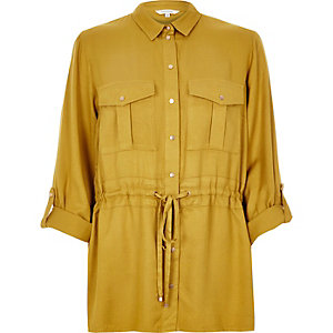 Dark yellow belted shirt
