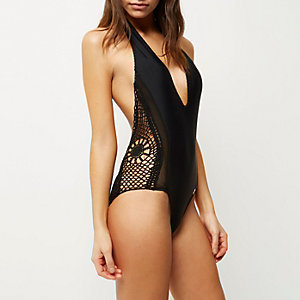 RI Resort black crochet halter neck swimsuit