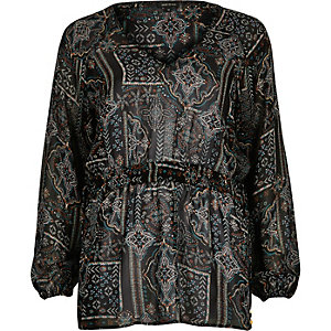 Black tile print festival top