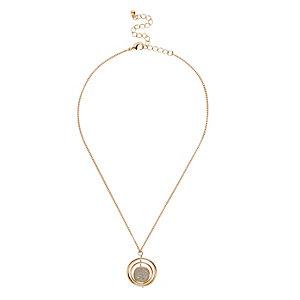 Gold tone glitter twist pendant necklace