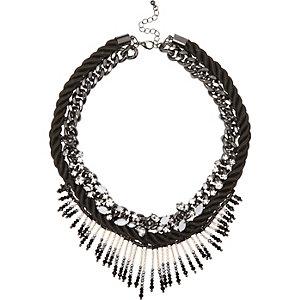 Black beaded fringed necklace