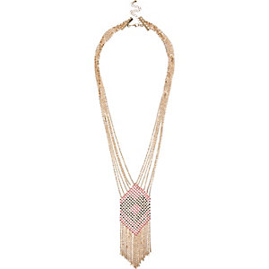 Gold tone multi-strand dangle necklace