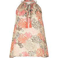 Pink floral print tassel top
