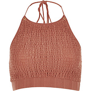 RI Resort Brown shirred halter neck crop top