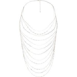 Silver tone draped body harness