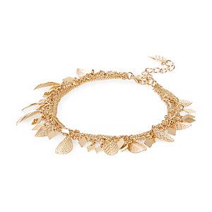 Gold tone leaf bracelet