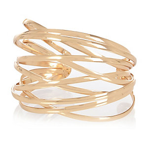 Gold tone caged cuff