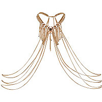 Gold tone fringed chain body harness