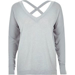 Light grey knitted cross over strap sweater