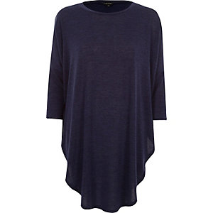 Dark blue knitted circle longline top