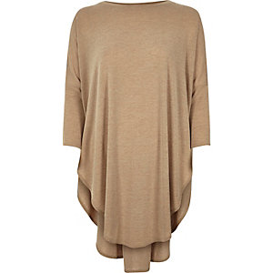 Beige knitted longline circle top