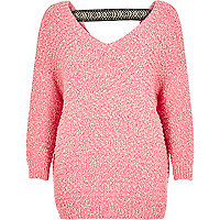 Bright pink slouchy sweater