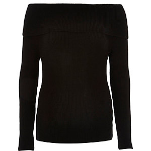Black knitted bardot sweater