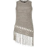 Grey knitted fringed asymmetric vest