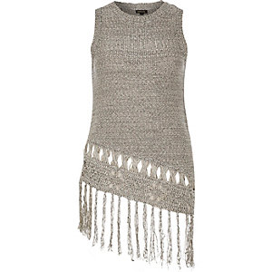 Grey knitted fringed asymmetric vest