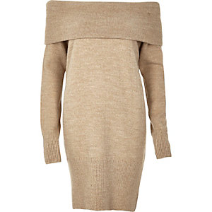 Beige knitted bardot sweater dress