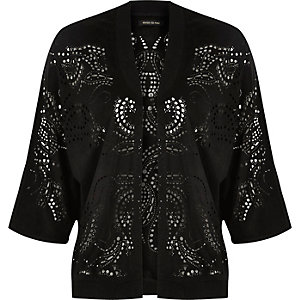 Black laser cut bomber jacket