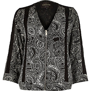 Black paisley print bomber jacket