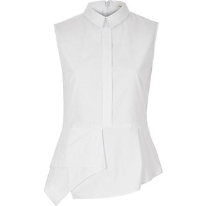 White sleeveless peplum shirt