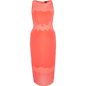 Coral mesh bodycon midi dress
