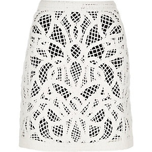 Cream crochet mini skirt