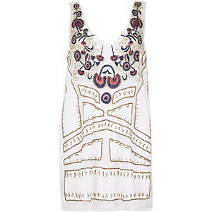 RI Resort white bead embellished cover-up