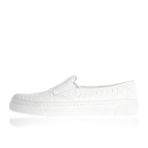White snake slip on plimsolls