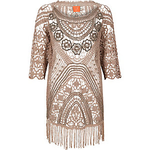 RI Resort beige embellished crochet cover-up