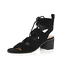 Black leather ghillie lace-up sandals