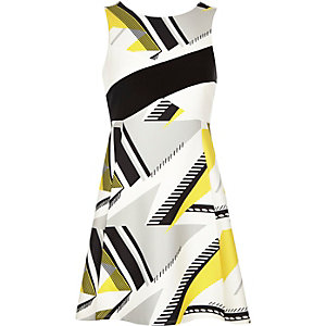 Yellow geometric pattern skater dress