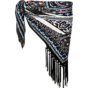 Black printed embroidered fringed sarong