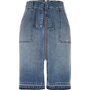 Mid wash denim zip front midi skirt