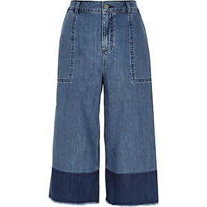 Blue denim dip dye raw hem culottes