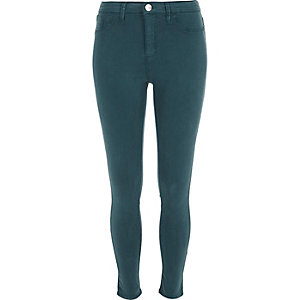Green sateen Molly jeggings