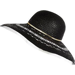 Black straw net edge floppy hat