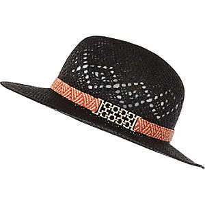Black patterned straw fedora hat