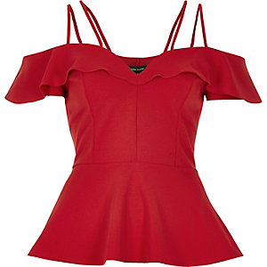 Red frilly bardot peplum top