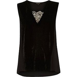 Black velvet lace insert sleeveless top
