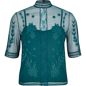 Dark green sheer embroidered top