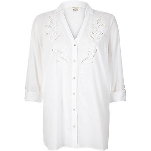 White cutwork detail shirt