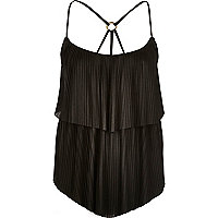 Black pleated double layer cami