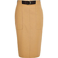 Beige utility D-ring pencil skirt