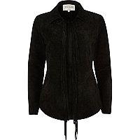 Black suede fringed shirt jacket