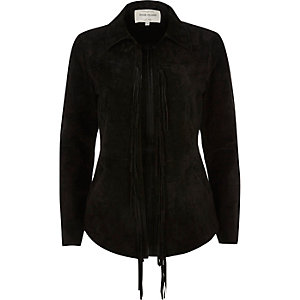 Black suede fringed shirt jacket
