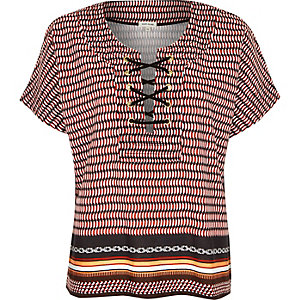 Red geometric print lace up front t-shirt